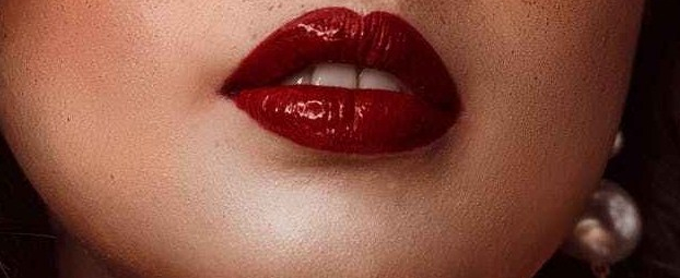 woman in red lipstick